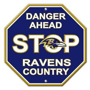 Image Is Loading Nfl Baltimore Ravens Stop Sign Room Bar Decor