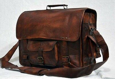 genuine leather vintage messenger large Handmade unisex satchel briefcase AC64