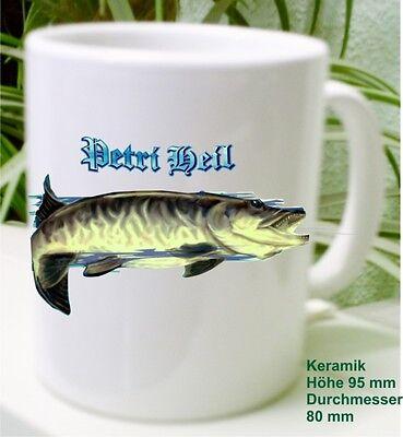 Raubfisch Hecht Fisch Angler Kaffee Pott Tasse Geschenk Idee