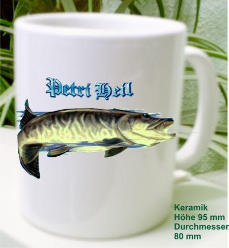 Hecht Fisch Angler Fischer Kaffe Kakao Keramik  Tee Tasse Pott Geschenk Idee