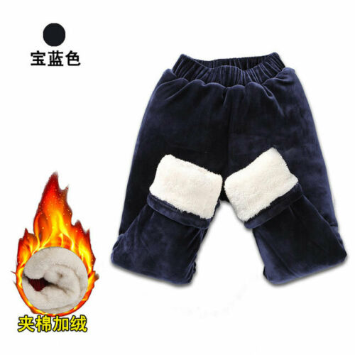 Kids Leggings Fleece Lined Thermal Stretchy Pants Girls Boys Warm Thick Cotton