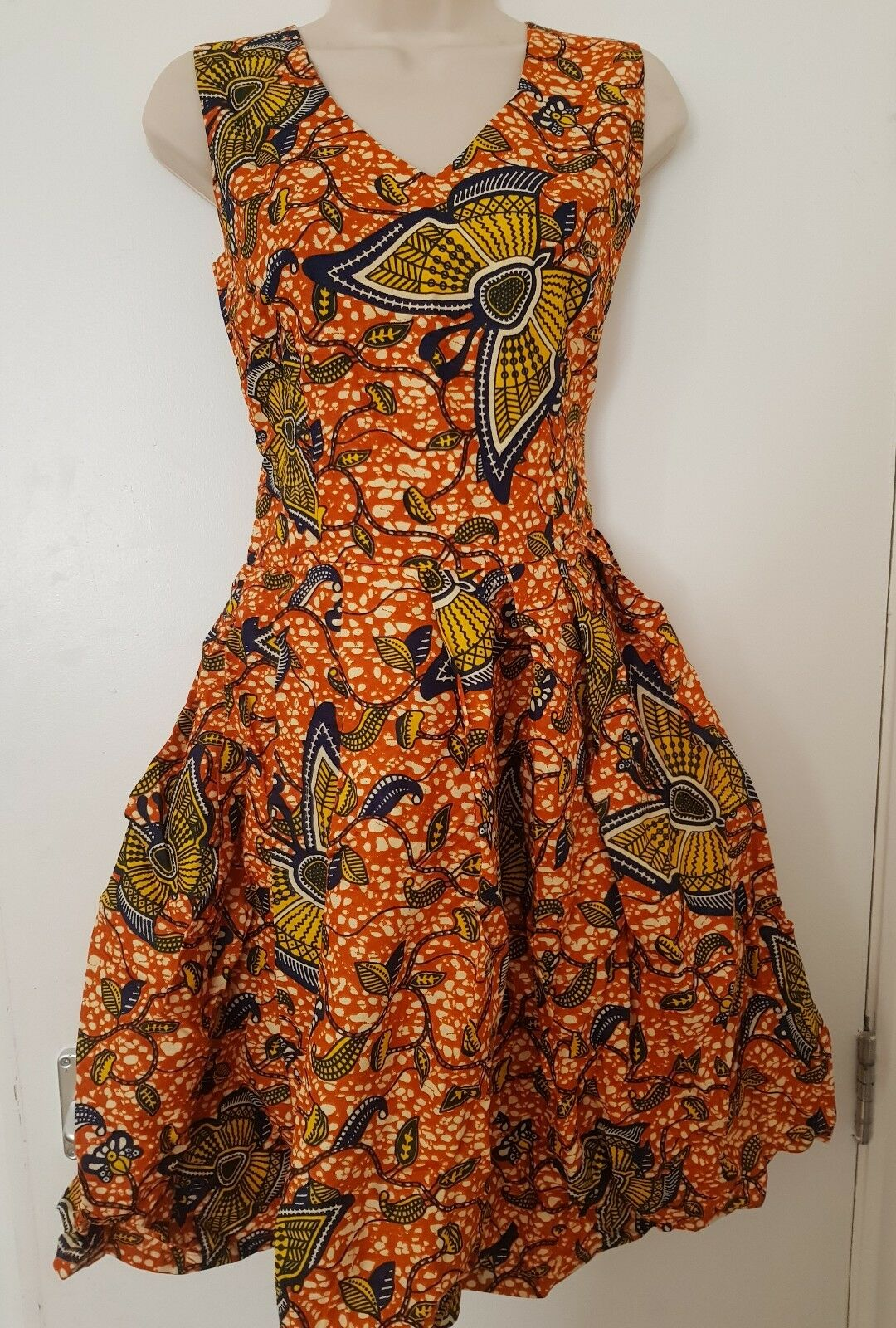 HANDMADE AFRICAN PRINT orange SUN DRESS Size  10, KNEE LENGTH, FREE UK P&P