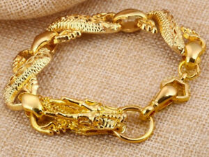 18k-Yellow-Gold-Dragon-Link-Bracelet-Men-039-s-Women-039-s-Wide-10mm-Gift-Pkg-D215B