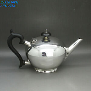 ANTIQUE-NICE-SOLID-STERLING-SILVER-BACHELORS-BULLET-TEAPOT-WH-amp-S-BIRMINGHAM-1919