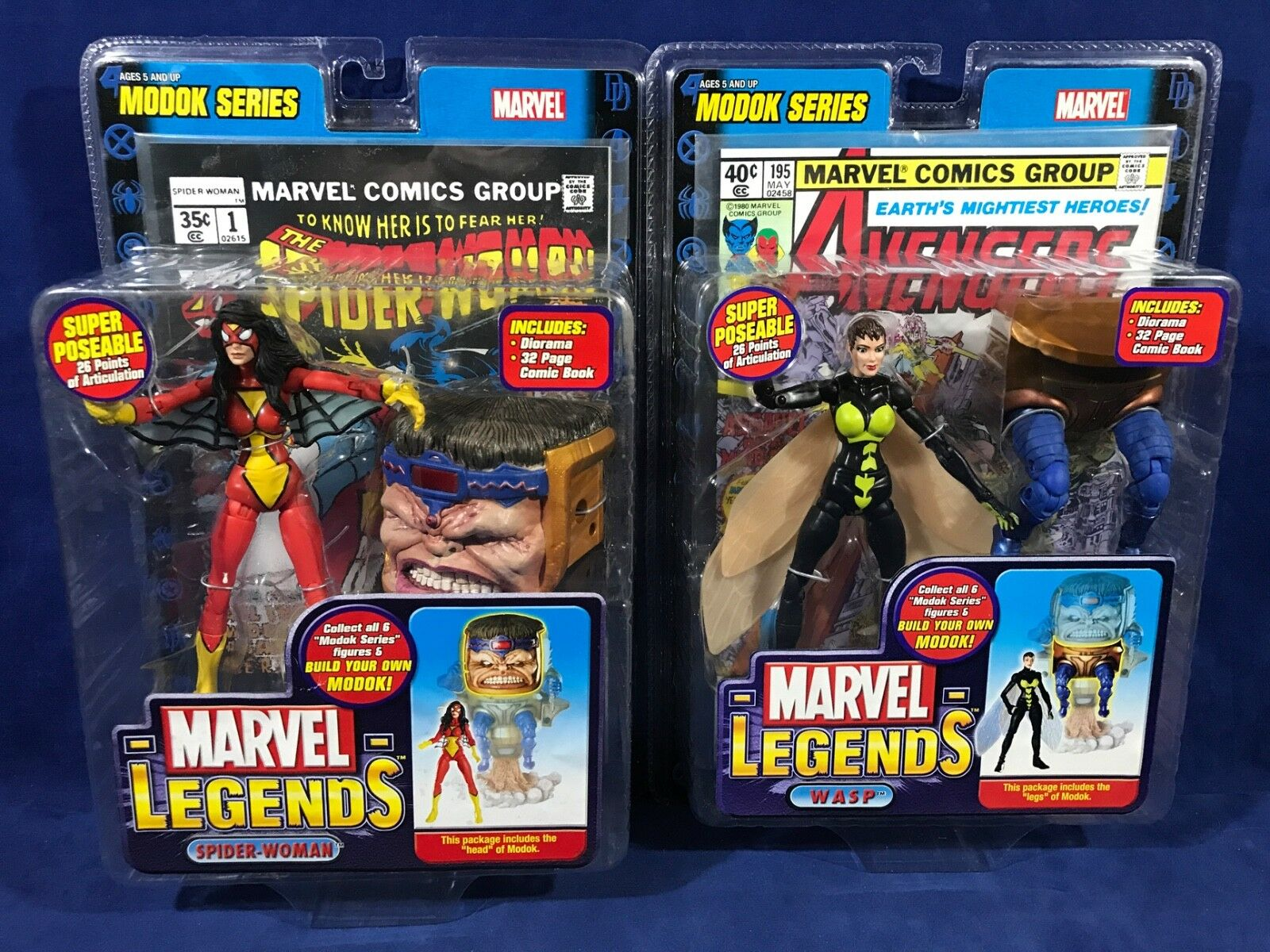 New WASP & SPIDER-Damenschuhe Action Figures MODOK SERIES Marvel Legends TOY BIZ 2006