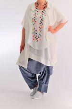 ♦ Kekoo weite Bluse/Hemd Gr. 4-48,50,52,54,56,58,60 luftig-leicht, weiß ♦