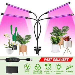 80LEDs 3//4Head Flower Indoor Plant Grow Light Lamp with Clip Indoor Hydroponics