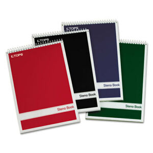 Tops Steno Book w/Assorted Colored Covers 6 x 9 Green Tint 80 Sheets 4 Pads/Pack