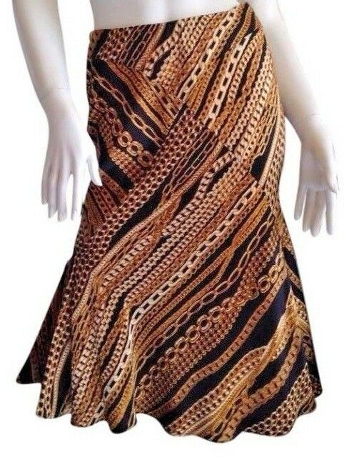 780 ROBERTO CAVALLI RUNWAY COLLECTION CHAIN LINK DRESS gold BIAS SKIRT S NWT