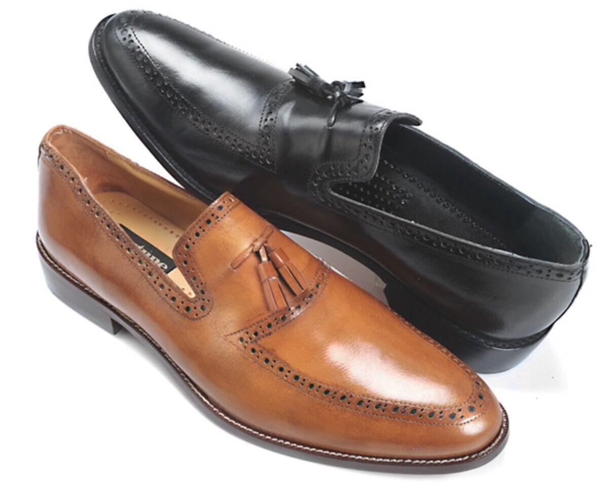 Nuevo Para hombres Cuero Suave Slip Ons Liberty Con Borlas Cognac De Vestir Zapatos LS 858