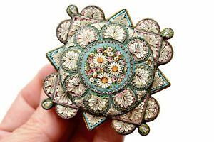 """Antique Large Italy Italian Micro Mosaic Brass Backing Floral Brooch Pin Mk 2.5"""""""