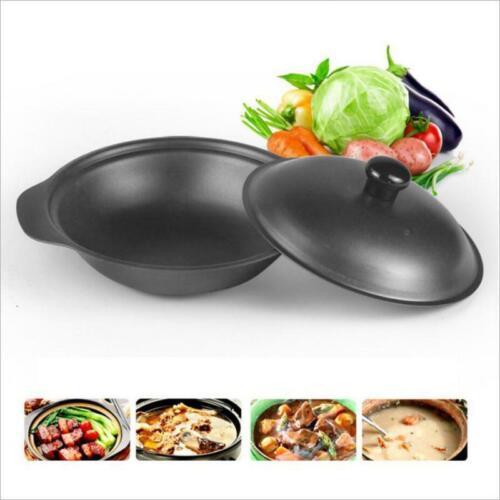 Home Cast Iron Casserole Non-Stick Pot Braiser Baking Pan with Cover,Black
