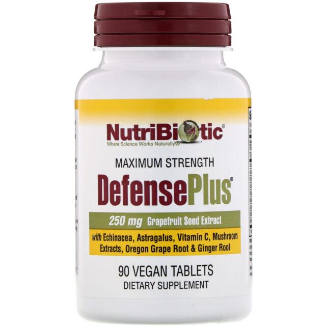 NutriBiotic  DefensePlus  Maximum Strength  90 Vegan Tablets