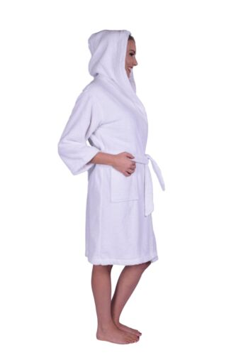 Petite Unisex Hoodie Bathrobe 100/% Natural Soft Cotton Puffy Cotton Teen