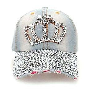 Special Women Denim Jean Rhinestone Sparkle Stud Bling Crown Baseball Cap Hat ah