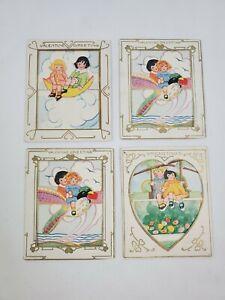 Lot of 4 Vintage Antique Die-Cut Valentine's Day Cards Girls Hearts Bird Floral