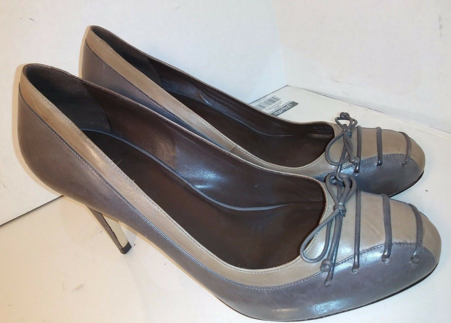 Cole Haan  Air Gray Brown Leather pumps Laces Bow womens Size 10.5 B