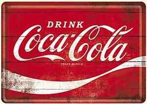 Coca-Cola-Logo-Blechpostkarte-Metall-Postkarte-140mm-x-100mm-Na