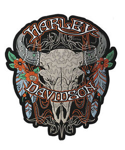 """HARLEY DAVIDSON Womens Studded Steer Skull 3X Patch 11 1/4"""" INCH HARLEY PATCH"""