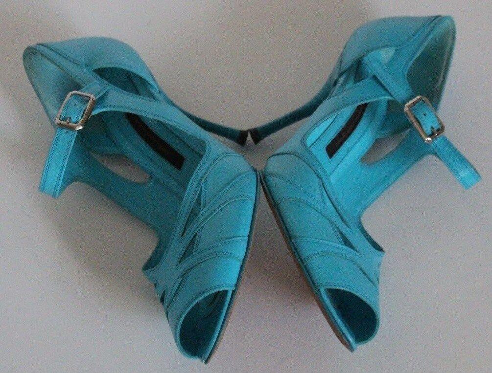 Narciso Rodriguez 6 Turquoise Leder Leder Leder Stacked Heel Sandale Pump Straps Buckle 36 529b41