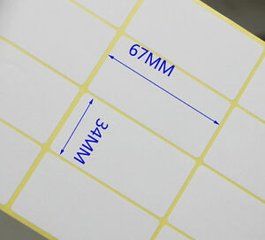 0412925010c Image is loading White-Blank-Paper-Sticker-Stickers-Labels-Rectangle-Self-