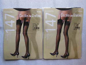 Garter-Belt-Stockings-Long-Bombay-Bas-Black-with-Pink-Ribbons-CDR-Size-M-L