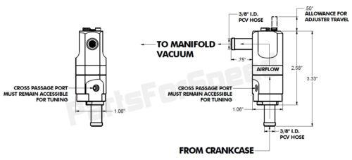 "Made USA DF-17 Inline Adapter fits 3//8/"" hose Dual Flow Adjustable PCV Valve"