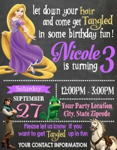 Details About Rapunzel Tangled Birthday Party Invitations Invites Personalized Custom