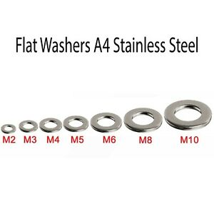 A4 STAINLESS STEEL MARINE GRADE FORM A FLAT WASHERS 2mm to 24mm Choice