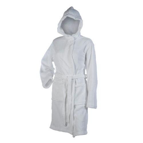 Ladies Soft Coral Fleece Hooded Bathrobe Plain Wrap Around Dressing Gown Medium