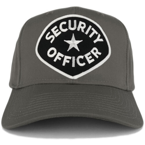 Security Officer Large Black White Embroidered Patch Adjustable Baseball Cap