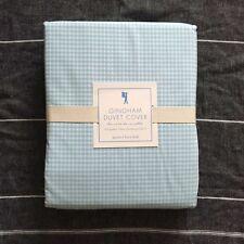 New  Pottery barn kids Gingham  Queen duvet cover light Blue White