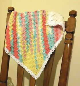 Hand Crochet Quot Tutti Frutti Quot Baby Blanket New Ebay