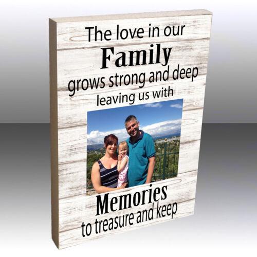"Personalised Photo Block Wooden 6x4/"" 7x5/"" Picture Frame Family Memories Keepsake"