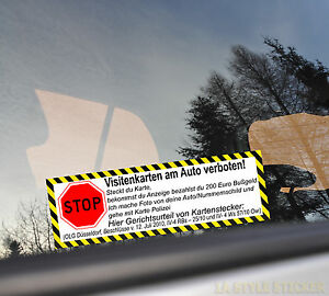 Details Zu Stop Visitenkarten Verboten Aufkleber Auto Kartenstecker Olg Spruch Finger Weg