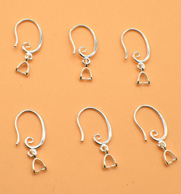 Jewellery /& Crafting Making 4 Pairs Silver-Plated Bead Suspension Bails
