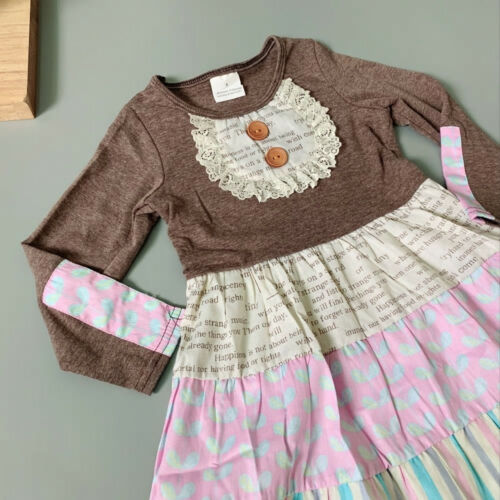 NEW Girls Boutique Floral Ruffle Long Sleeve Dress 3T 4T 5-6 6-7 7-8
