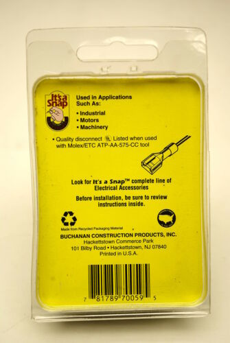 Pack of 100  Fully Insulated Crimp-On Female Disconnects #22-#18 AWG Cat.70059