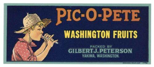 PIC-O-PETE Brand Vintage Washington Fruits *AN ORIGINAL CRATE LABEL* small