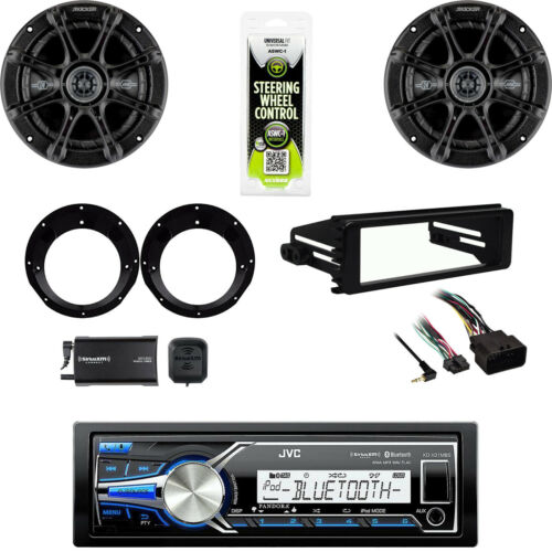 XM Tuner JVC Marine USB Radio Kicker Speaker Set FLHX Harley Install DIN Kit