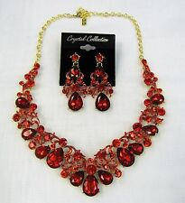 Gold Plated RED Rhinestone Crystal Statement Necklace Set Prom Pageant Dance
