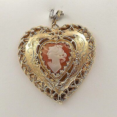 Art Deco 14k Gold Filigree Heart Photo Locket Carved Cameo Charm Pendant 13.1gr