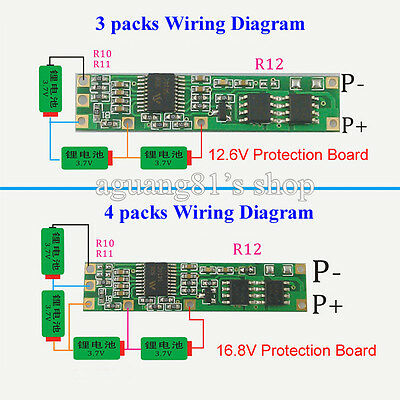 Battery BMS Protection PCB Board for 3-4 packs 18650 Li-ion lithium Battery Cell