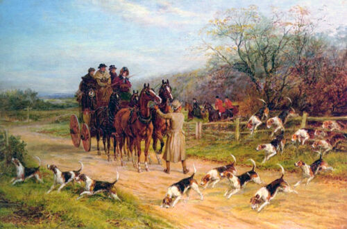 Hounds First Gentlemen  by Heywood Hardy   Giclee Canvas Print Repro