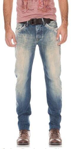-70/% Pepe Jeans Spark bleu denim brut coupe droite effet usé .PM200028V374.