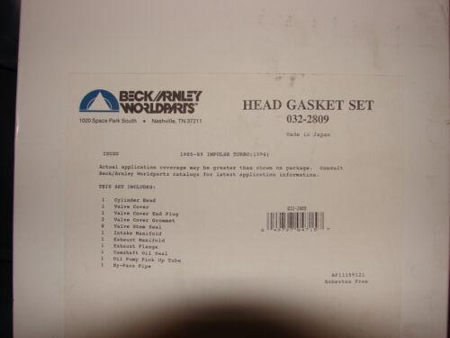 Beck Arnley Cylinder Head Gasket Set 1985-89 Isuzu Impulse Turbo 2.0