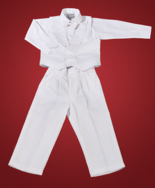 4 Piece White Christening Baptism Vest Suit for Infant/Baby Boys - Sizes 00 to 1