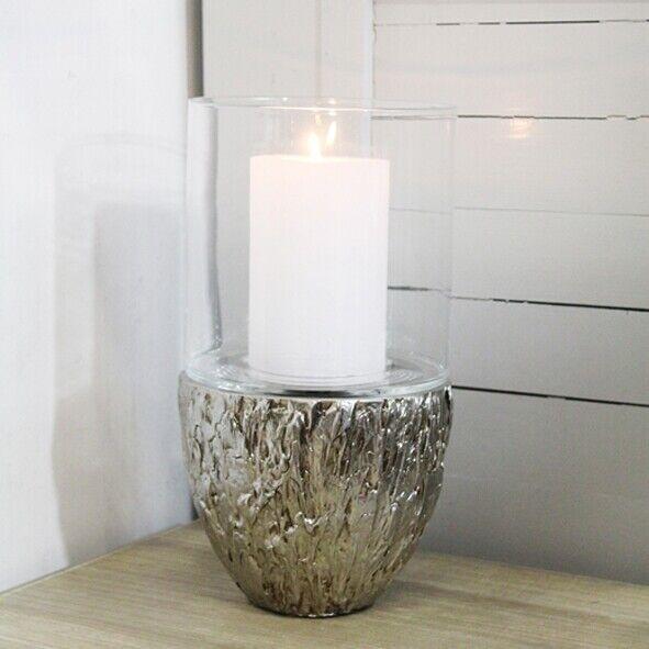 Goldbach Edles Windlicht aus Keramik in altsilber Glas 37 cm NEU