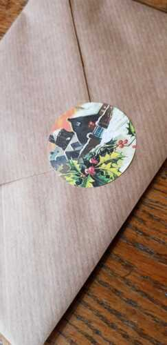 Noël Scène Seals style vintage enveloppe Stickers x12 Crafts Holly hiver BN