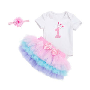 6c5acff003 Das Bild wird geladen Geburtstag-Maedchen-Baby-Prinzessin-Kleid-Outfit- Strampler-Tutu-